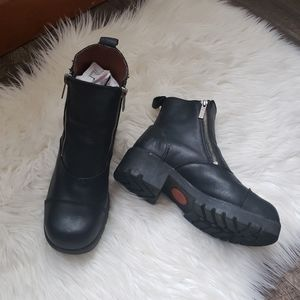 Harley Davidson Leather Riding Boots Double Zipper
